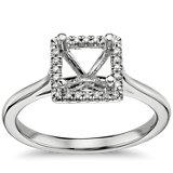 Princess-Cut Floating Halo Engagement Ring in 14k White Gold